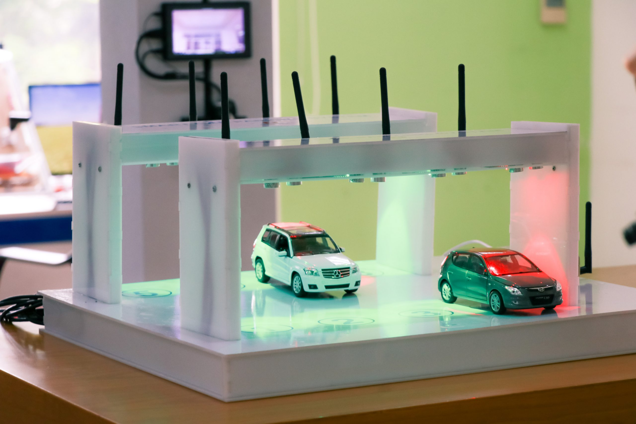 Smart Car Parking System Model with 2 model cars