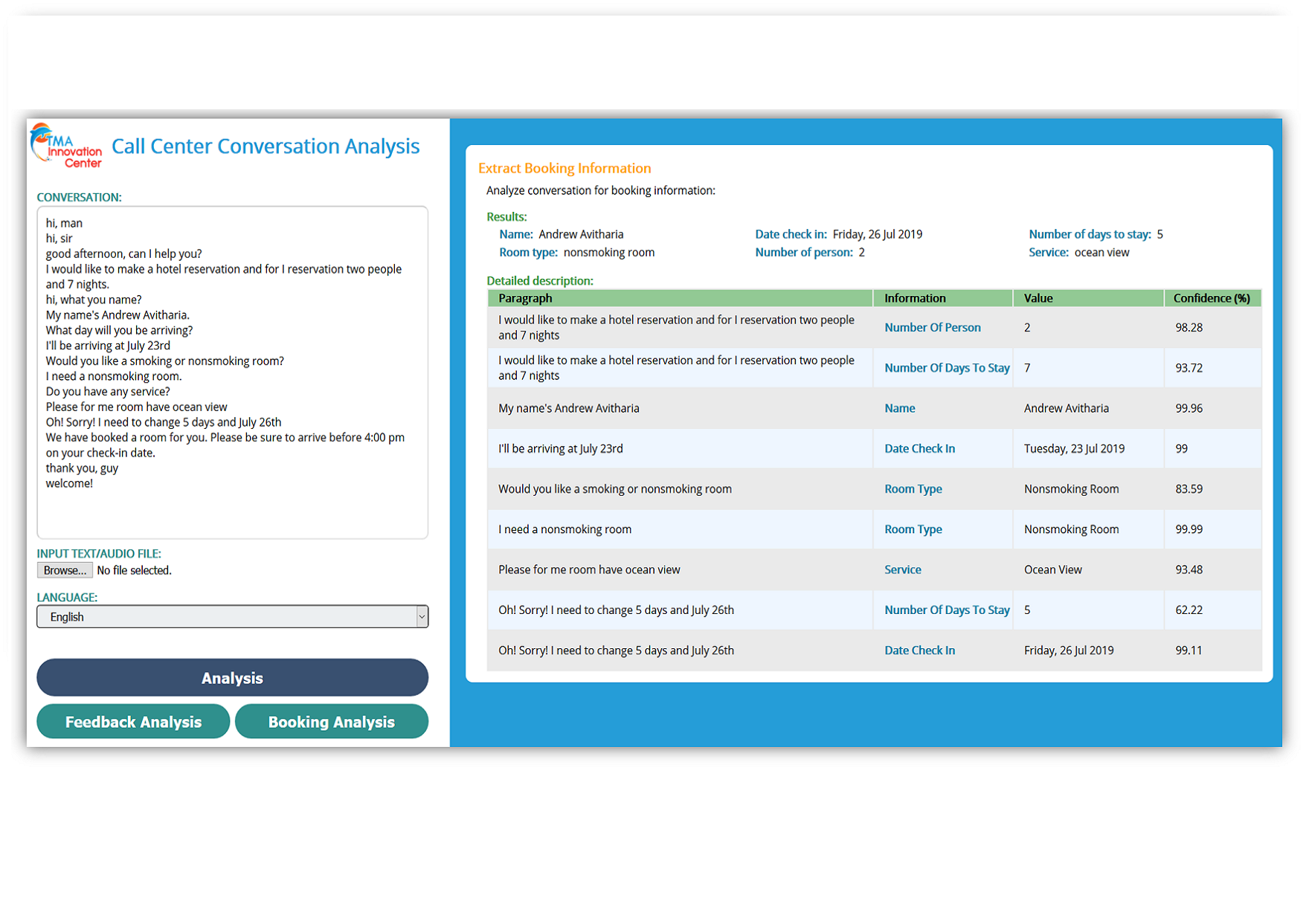 TMA Innovation Call Analysis UI Booking Information Extraction