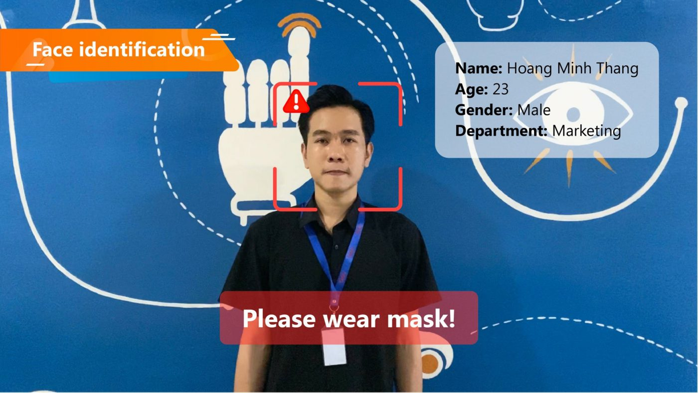 Smart Camera Box identification and face mask detection